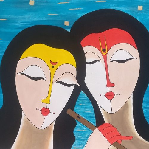 joyful radha krishna, 24 x 16 inch, aamruta kulkarni,24x16inch,canvas,paintings,abstract paintings,radha krishna paintings,paintings for dining room,paintings for living room,paintings for office,paintings for hotel,paintings for kitchen,acrylic color,fabric,GAL02922042036