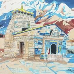 the kedarnath temple, 16 x 11 inch, sanju mohan,16x11inch,drawing paper,paintings,religious paintings,paintings for living room,acrylic color,poster color,paper,GAL02990042039