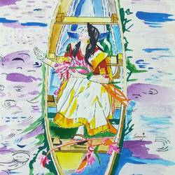 girl enjoying season's first rain, 11 x 16 inch, sanju mohan,11x16inch,drawing paper,paintings,conceptual paintings,nature paintings | scenery paintings,paintings for living room,paintings for bedroom,acrylic color,poster color,paper,GAL02990042041