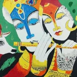 radha krishna flute painting, 16 x 11 inch, sanju mohan,16x11inch,drawing paper,paintings,religious paintings,radha krishna paintings,paintings for living room,acrylic color,poster color,paper,GAL02990042042