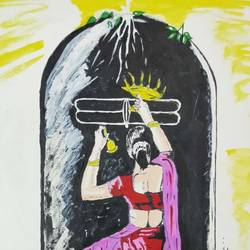 lord shiva painting, 16 x 11 inch, sanju mohan,16x11inch,drawing paper,paintings,religious paintings,lord shiva paintings,paintings for living room,acrylic color,poster color,paper,GAL02990042043