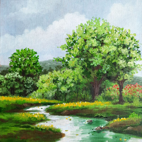 river trees forest, 12 x 12 inch, aparna joshi,12x12inch,canvas board,paintings,landscape paintings,expressionism paintings,impressionist paintings,paintings for dining room,paintings for living room,paintings for bedroom,paintings for office,paintings for bathroom,paintings for hotel,paintings for school,paintings for hospital,paintings for dining room,paintings for living room,paintings for bedroom,paintings for office,paintings for hotel,paintings for school,paintings for hospital,acrylic color,GAL01573642059