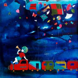 treasure of the childhood vii, 18 x 18 inch, shiv kumar soni,modern art paintings,paintings for bedroom,vertical,canvas,acrylic color,18x18inch,GAL0304206