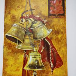 the bells, 18 x 24 inch, mamta sharma,18x24inch,canvas,paintings,abstract paintings,landscape paintings,modern art paintings,paintings for dining room,paintings for living room,paintings for office,paintings for dining room,paintings for living room,paintings for office,acrylic color,pastel color,pencil color,photo ink,poster color,GAL02913542060