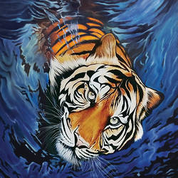 tiger emerging from water, 24 x 36 inch, augustine devotta,24x36inch,canvas,wildlife paintings,paintings for living room,paintings for office,paintings for hotel,paintings for living room,paintings for office,paintings for hotel,acrylic color,GAL0695442067