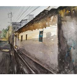 narrow lane, 22 x 13 inch, soyli saha,22x13inch,thick paper,paintings,landscape paintings,street art,realistic paintings,paintings for dining room,paintings for living room,paintings for bedroom,paintings for office,paintings for bathroom,paintings for kids room,paintings for hotel,paintings for kitchen,paintings for school,paintings for hospital,watercolor,GAL0606542074