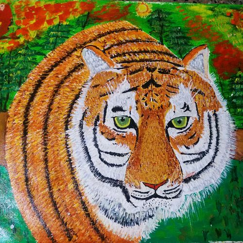 tiger, 36 x 25 inch, shweta patil,36x25inch,canvas,paintings,wildlife paintings,paintings for dining room,paintings for living room,paintings for bedroom,paintings for office,paintings for kids room,paintings for hotel,paintings for kitchen,paintings for school,paintings for hospital,acrylic color,GAL02843442077