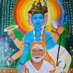 dutt bhagwan and shirdi sai baba , 32 x 25 inch, shweta patil,32x25inch,canvas,paintings,religious paintings,paintings for dining room,paintings for living room,paintings for bedroom,paintings for office,paintings for kids room,paintings for hotel,paintings for kitchen,paintings for school,paintings for hospital,acrylic color,GAL02843442079