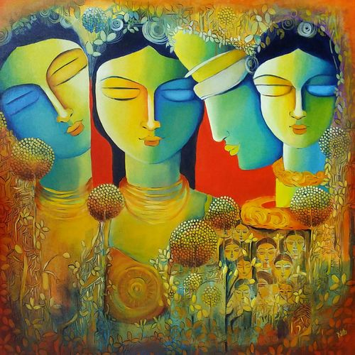 only love abstract, 30 x 30 inch, nitu chhajer,paintings for bedroom,vertical,canvas,acrylic color,30x30inch,GAL05824208