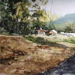 village, 22 x 13 inch, soyli saha,22x13inch,thick paper,paintings,landscape paintings,paintings for living room,paintings for office,paintings for bathroom,paintings for kids room,paintings for hotel,paintings for kitchen,watercolor,GAL0606542084