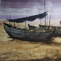 boat, 22 x 13 inch, soyli saha,22x13inch,thick paper,paintings,landscape paintings,paintings for living room,paintings for office,paintings for kids room,paintings for hotel,paintings for kitchen,paintings for hospital,watercolor,GAL0606542086