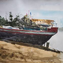 boat, 22 x 13 inch, soyli saha,22x13inch,thick paper,paintings,landscape paintings,paintings for dining room,paintings for bedroom,paintings for kids room,paintings for school,paintings for hospital,watercolor,GAL0606542087