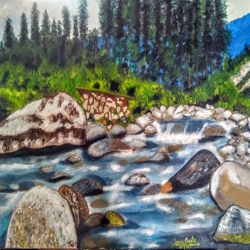 nalthi park, jammu, 25 x 17 inch, tanu gupta,25x17inch,canvas,paintings,landscape paintings,nature paintings | scenery paintings,oil color,GAL02995442089