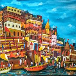 ganga ghat, 24 x 18 inch, tanu gupta,24x18inch,canvas,paintings,cityscape paintings,religious paintings,acrylic color,GAL02995442090
