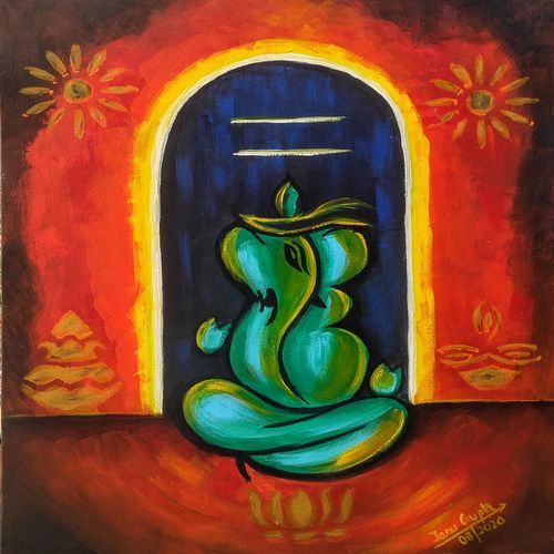 shivgan, 14 x 18 inch, tanu gupta,14x18inch,canvas,paintings,abstract paintings,religious paintings,ganesha paintings | lord ganesh paintings,acrylic color,GAL02995442092