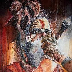 aghori - a shiv devotion, 12 x 16 inch, priyesh soni,12x16inch,canvas,paintings,figurative paintings,portrait paintings,portraiture,paintings for living room,paintings for office,paintings for hotel,acrylic color,GAL0822742097