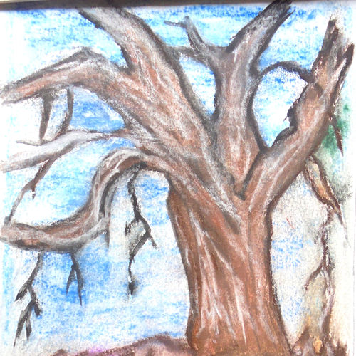 die tree , 12 x 10 inch, namita maithil,landscape paintings,paintings for living room,thick paper,pastel color,12x10inch,GAL0202421