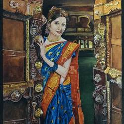 intezaar - lady in waiting, 16 x 12 inch, priyesh soni,16x12inch,canvas,paintings,modern art paintings,portrait paintings,expressionism paintings,photorealism,portraiture,paintings for dining room,paintings for living room,paintings for bedroom,paintings for office,paintings for hotel,paintings for school,paintings for hospital,acrylic color,GAL0822742101