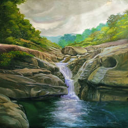 waterfall pasukkadavu, 36 x 48 inch, muhammad haneepha varikodan house road,36x48inch,canvas,paintings,landscape paintings,paintings for dining room,paintings for living room,paintings for bedroom,paintings for office,paintings for bathroom,paintings for kids room,paintings for hotel,paintings for kitchen,paintings for school,paintings for hospital,acrylic color,GAL02923142105