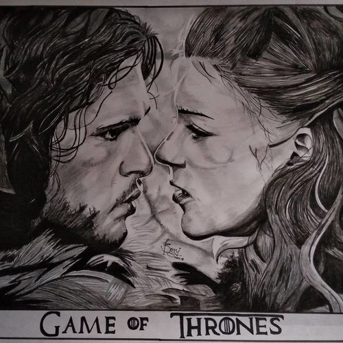 jon ygritte - game of thrones, 25 x 24 inch, priyesh soni,25x24inch,ivory sheet,paintings,portrait paintings,photorealism paintings,photorealism,portraiture,paintings for dining room,paintings for living room,paintings for bedroom,paintings for office,paintings for kids room,paintings for hotel,paintings for kitchen,paintings for school,paintings for hospital,charcoal,graphite pencil,GAL0822742107