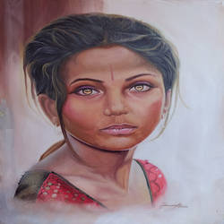 golden eye girl, 36 x 48 inch, muhammad haneepha varikodan house road,36x48inch,canvas,paintings,figurative paintings,portrait paintings,photorealism paintings,photorealism,realism paintings,realistic paintings,paintings for dining room,paintings for living room,paintings for bedroom,paintings for office,paintings for kids room,paintings for hotel,paintings for school,oil color,GAL02923142109