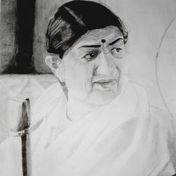 lata mangeshkar - queen of melody, 16 x 20 inch, priyesh soni,16x20inch,thick paper,paintings,portrait paintings,portraiture,paintings for dining room,paintings for living room,paintings for bedroom,paintings for office,paintings for kids room,paintings for hotel,paintings for kitchen,paintings for school,paintings for hospital,charcoal,graphite pencil,GAL0822742111
