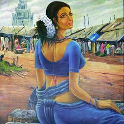 women in fish market, 23 x 32 inch, muhammad haneepha varikodan house road,23x32inch,cloth,paintings,figurative paintings,paintings for dining room,paintings for living room,paintings for bedroom,paintings for office,paintings for hotel,mixed media,GAL02923142121