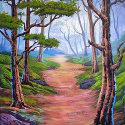pathway of nature, 36 x 48 inch, muhammad haneepha varikodan house road,36x48inch,canvas,paintings,landscape paintings,conceptual paintings,paintings for dining room,paintings for living room,paintings for bedroom,paintings for office,paintings for hotel,acrylic color,GAL02923142122