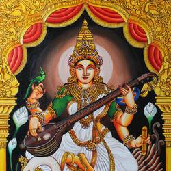 saraswathi devi detailed handmade painting, 25 x 31 inch, indiarts india,25x31inch,canvas board,paintings,religious paintings,paintings for living room,paintings for office,paintings for school,acrylic color,GAL02992042123