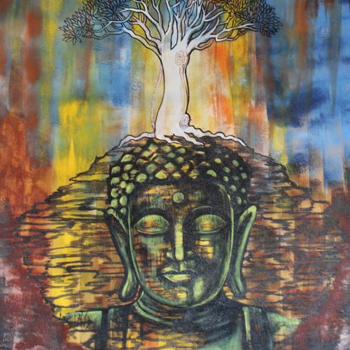 budda handmade painting, 24 x 30 inch, indiarts india,24x30inch,canvas board,paintings,buddha paintings,paintings for dining room,paintings for living room,paintings for office,paintings for hotel,paintings for school,paintings for hospital,acrylic color,GAL02992042124