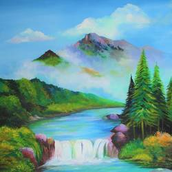beautiful scenery handmade painting , 36 x 48 inch, indiarts india,36x48inch,canvas board,paintings,nature paintings | scenery paintings,paintings for dining room,paintings for living room,paintings for bedroom,paintings for office,paintings for hotel,acrylic color,GAL02992042125