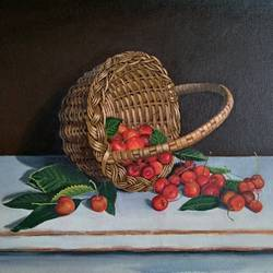 cherry basket, 18 x 14 inch, pushpendra singh mandloi,18x14inch,canvas,paintings,still life paintings,photorealism,paintings for dining room,paintings for living room,paintings for office,paintings for kids room,paintings for hotel,paintings for kitchen,acrylic color,oil color,GAL0726242127