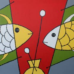 abstract fish handmade painting , 30 x 24 inch, indiarts india,30x24inch,canvas board,paintings,abstract paintings,paintings for dining room,paintings for living room,paintings for bedroom,paintings for office,paintings for hotel,acrylic color,GAL02992042129