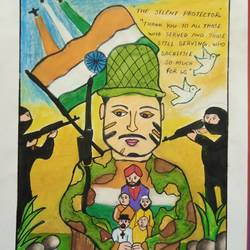 salute our saviours, 12 x 17 inch, charuhasini b,12x17inch,thick paper,paintings for kids room,kids drawings,paintings for kids room,oil color,GAL02937642134