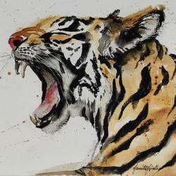 fangs, 13 x 9 inch, namita minotra,13x9inch,fabriano sheet,paintings,wildlife paintings,nature paintings | scenery paintings,impressionist paintings,animal paintings,paintings for living room,paintings for office,paintings for hotel,natural color,watercolor,coffee,paper,GAL01743742135