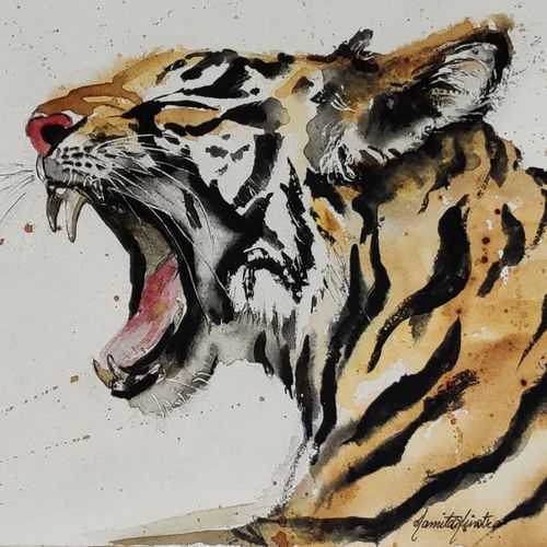 fangs, 13 x 9 inch, namita minotra,13x9inch,fabriano sheet,paintings,wildlife paintings,nature paintings   scenery paintings,impressionist paintings,animal paintings,paintings for living room,paintings for office,paintings for hotel,natural color,watercolor,coffee,paper,GAL01743742135