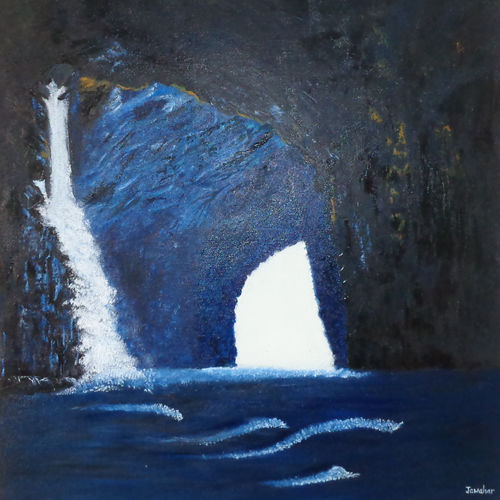 coastal mountain cave, 24 x 31 inch, jawahar govindan,24x31inch,canvas,paintings,landscape paintings,paintings for living room,paintings for bedroom,paintings for hotel,oil color,GAL02997342141