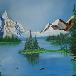 massive snow mountain with lake, 43 x 32 inch, jawahar govindan,43x32inch,canvas,paintings,landscape paintings,paintings for living room,paintings for bedroom,paintings for office,paintings for hotel,oil color,GAL02997342143