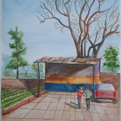 farmhouse , 12 x 17 inch, anshuman sikka,12x17inch,canson paper,cityscape paintings,landscape paintings,nature paintings | scenery paintings,contemporary paintings,paintings for dining room,paintings for living room,paintings for office,paintings for hotel,paintings for school,paintings for hospital,paintings for dining room,paintings for living room,paintings for office,paintings for hotel,paintings for school,paintings for hospital,watercolor,GAL02997242144