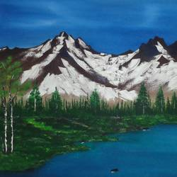mountain near lake , 30 x 24 inch, jawahar govindan,30x24inch,canvas,paintings,landscape paintings,paintings for dining room,paintings for living room,paintings for bedroom,paintings for office,paintings for hotel,oil color,GAL02997342146
