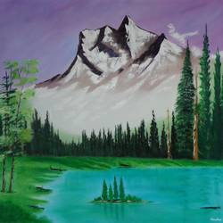 mountain with snow covered, 30 x 31 inch, jawahar govindan,30x31inch,canvas,paintings,landscape paintings,paintings for dining room,paintings for living room,paintings for bedroom,paintings for office,paintings for hotel,oil color,GAL02997342147