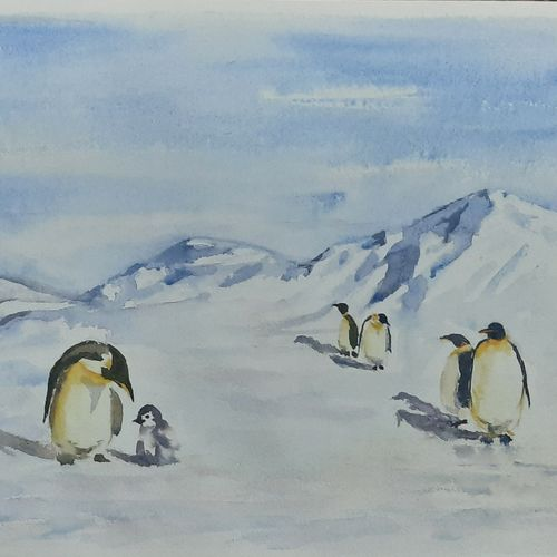 emperor penguins in antarctica , 17 x 12 inch, anshuman sikka,17x12inch,paper,paintings,wildlife paintings,landscape paintings,nature paintings | scenery paintings,impressionist paintings,minimalist paintings,love paintings,paintings for dining room,paintings for living room,paintings for bedroom,paintings for office,paintings for kids room,paintings for hotel,watercolor,GAL02997242148