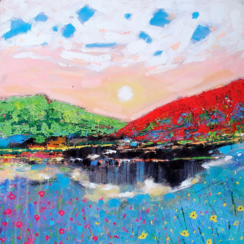 the sunrise in the green valley (landscape) , 18 x 18 inch, sandeep rawal ,18x18inch,canvas,paintings,abstract paintings,flower paintings,landscape paintings,modern art paintings,nature paintings | scenery paintings,abstract expressionism paintings,art deco paintings,contemporary paintings,love paintings,water fountain paintings,paintings for dining room,paintings for living room,paintings for bedroom,paintings for office,paintings for bathroom,paintings for kids room,paintings for hotel,paintings for kitchen,paintings for school,paintings for hospital,acrylic color,GAL0251142151