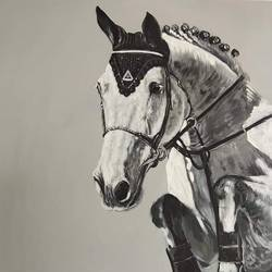 horse black and white painting , 24 x 30 inch, indiarts india,24x30inch,canvas,paintings,animal paintings,horse paintings,paintings for dining room,paintings for living room,paintings for bedroom,paintings for hotel,acrylic color,GAL02992042156