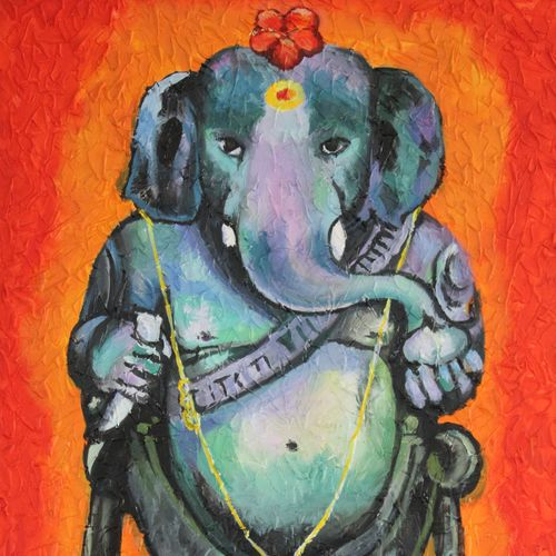 lord ganesha -sri maha ganapathi idol, 24 x 36 inch, indiarts india,24x36inch,canvas,paintings,religious paintings,ganesha paintings | lord ganesh paintings,paintings for living room,paintings for office,paintings for school,acrylic color,GAL02992042157