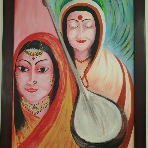 meera, from royals to devotee of krishna, 24 x 36 inch, khushwinder singh,24x36inch,canvas,paintings,folk art paintings,expressionism paintings,paintings for dining room,paintings for living room,paintings for bedroom,paintings for office,paintings for school,paintings for hospital,paintings for dining room,paintings for living room,paintings for bedroom,paintings for office,paintings for school,paintings for hospital,acrylic color,oil color,GAL02999642170