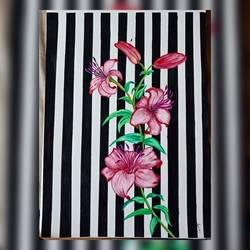 floral drawing, 8 x 12 inch, shruti rayan,8x12inch,thick paper,paintings,flower paintings,art deco paintings,minimalist paintings,paintings for living room,paintings for bedroom,paintings for hotel,acrylic color,pen color,paper,GAL02640642175
