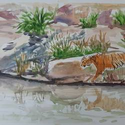 thirsty beast, 17 x 12 inch, anshuman sikka,17x12inch,paper,paintings,wildlife paintings,landscape paintings,nature paintings | scenery paintings,art deco paintings,impressionist paintings,animal paintings,water fountain paintings,paintings for dining room,paintings for living room,paintings for bedroom,paintings for office,paintings for bathroom,paintings for kids room,paintings for hotel,paintings for kitchen,paintings for school,paintings for hospital,watercolor,GAL02997242181