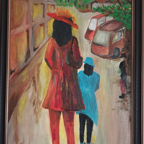 at the mall, 18 x 30 inch, khushwinder singh,18x30inch,canvas,paintings,conceptual paintings,paintings for dining room,paintings for living room,paintings for bedroom,paintings for office,paintings for hotel,paintings for school,paintings for hospital,acrylic color,oil color,GAL02999642183