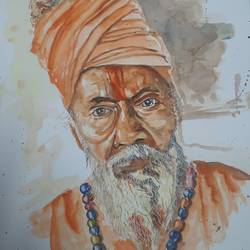 sadhu, 12 x 17 inch, anshuman sikka,12x17inch,paper,paintings,figurative paintings,folk art paintings,religious paintings,portrait paintings,art deco paintings,portraiture,paintings for dining room,paintings for living room,paintings for bedroom,paintings for office,paintings for hotel,paintings for school,paintings for hospital,watercolor,GAL02997242185